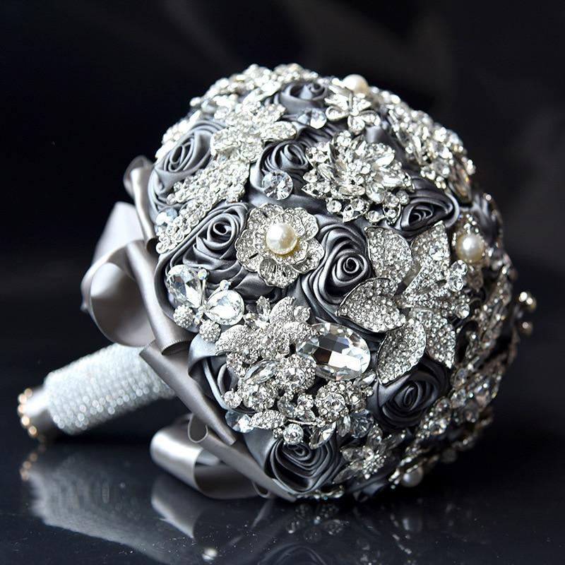2018 Роскошная обувь с украшением в виде кристаллов Свадебные букеты атласные розы шику бисером алмаз Фиолетовый Свадебный букет невесты сва