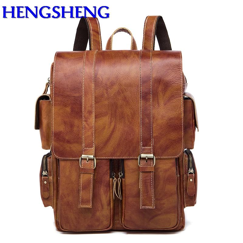 цены Hengsheng Vintage genuine leather men backpacks with quality cow layer leather men double shoulder bag for leather man backpacks
