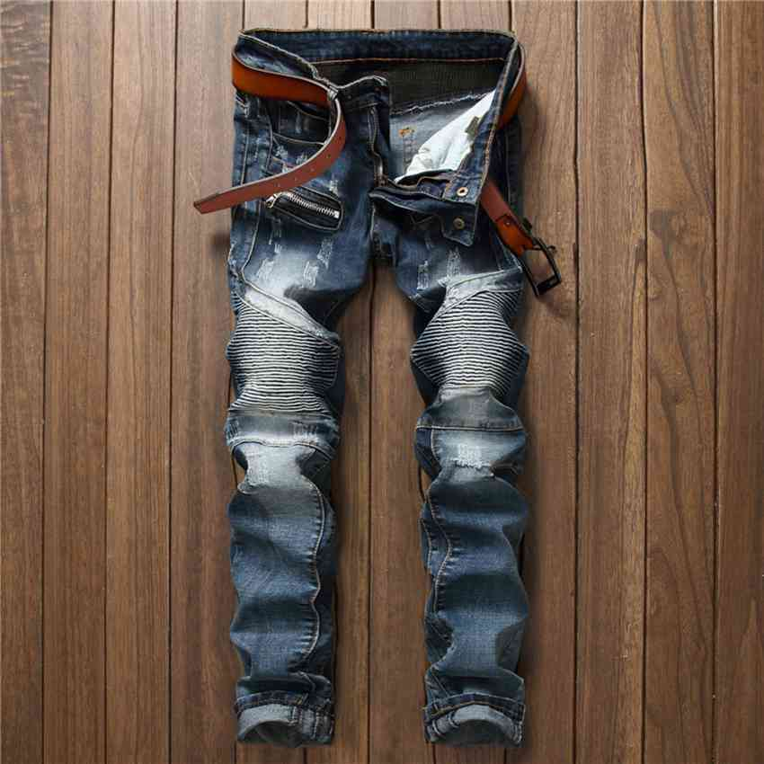 #1541 2017 Mens denim jeans Patchwork Biker jeans Skinny jeans men Motorcycle pants Joggers Denim men Slim fit jeans homme