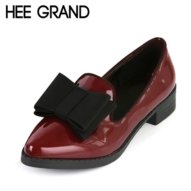 HEE GRAND Spring Platform Women Oxfords With Bowtie Patent Leather Brogue Shoes Woman Pointed Toe Slip On Ladies Flats XWD2527