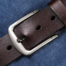 Купить с кэшбэком [LFMB]leather belt men male genuine leather strap pin buckle fancy vintage jeans ceinture homme fancy vintage cowboy jeans