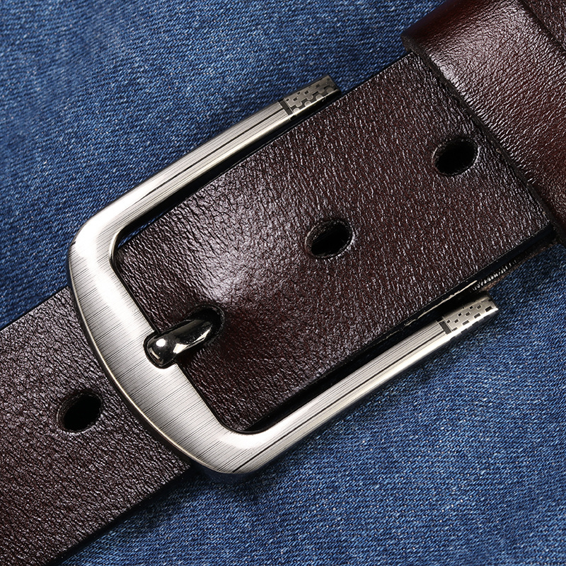 [LFMB]leather   belt   men male genuine leather strap pin buckle fancy vintage jeans ceinture homme fancy vintage cowboy jeans