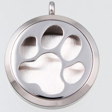 New 10pcs/lot Aromatherapy/Essential Oils Diffuser Locket Round Screw Silver Dog Paw Print Floating Locket Pendant Necklace