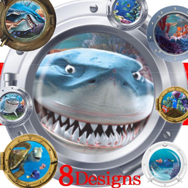 3d sous-marin vif hublot stickers muraux pour enfants chambres sealife décor corail requin poisson dessin animé animal stickers muraux