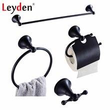 Leyden 4 шт. черный полотенцесушитель держатель для туалетной бумаги кольцо для полотенец крючок настенный латунный аксессуары для ванной набор оборудования