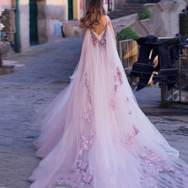 Boho Wedding Dress 2019 3D Flowers Light Purple Beach Bride Dresses Backless Puff Tulle Wedding Gowns Long Train Floor Length