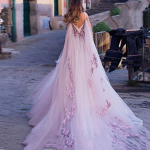 Boho Wedding Dress 2019 3D Flowers Light Purple Beach Bride Dresses Backless Puff Tulle Gowns Long Train Floor Length