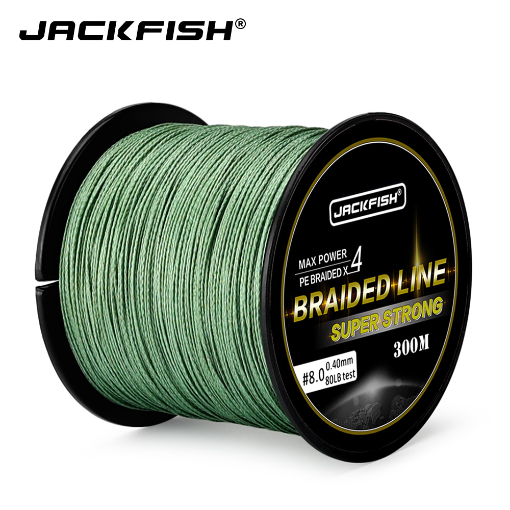 JACKFISH Super Strong 4 Strand PE Braided Fishing Line 10-80LB 300M Multifilament Fishing Lines For Carp Fishing Saltwater Line