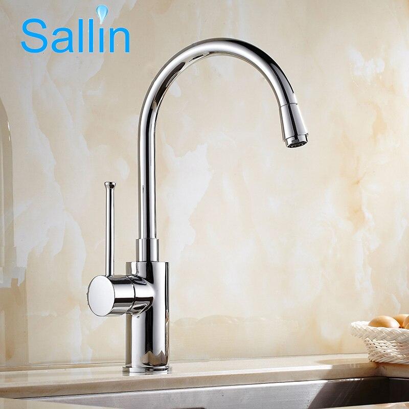 Nouveau Design robinet de cuisine mitigeur cuisine robinet d'eau 360 rotatif Chrome chaud et froid 100% laiton évier de cuisine robinets d'eau mélangeurs