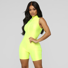 2019 Fluorescent Women Playsuits Casual Bandage Jumpsuits Fashion Solid Fitness Female Rompers Sleeveless Overalls