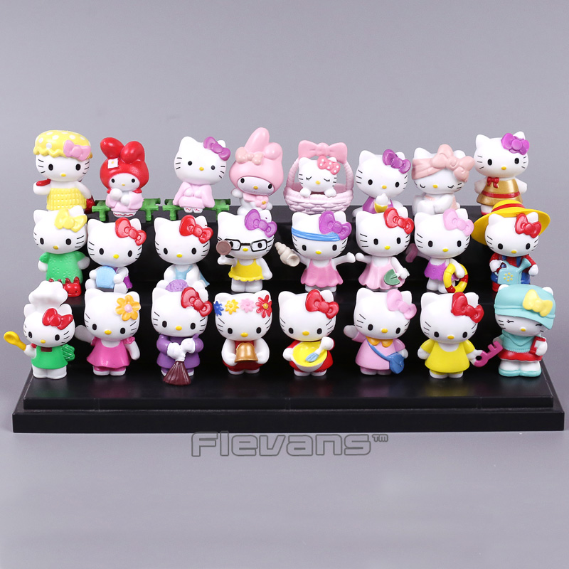 Cartoon Cute Hello Kitty Mini PVC Figures Toys Car Home Decoration Dolls Gift for Children Girls 6pcs/set 5cm car accessories hello kitty cartoon car stickers warning with children kt133 free shipping