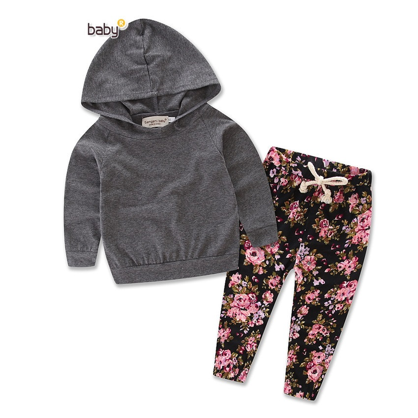 2018 Spring Autumn Baby Girls Clothing Set Leopard Hooded Tops + Flower Pants 2pcs Baby Girl Clothes Set Infant Girls Suit