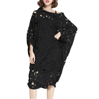 Spring Summer Fashion New Black Flower Hollow Out Lace Dress Korean Loose Batwing Sleeve Big