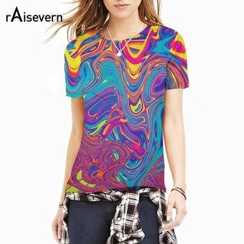 Raisevern moda 3D T Shirt psychodeliczny Swirl wyciek ropy naftowej T-Shirt kobiety mężczyźni Harajuku Fitness Tee topy lato w stylu Dropship