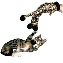 Cat Kitten Love Play Toy Glove with Pom Balls Animal Print on Ideal Gift