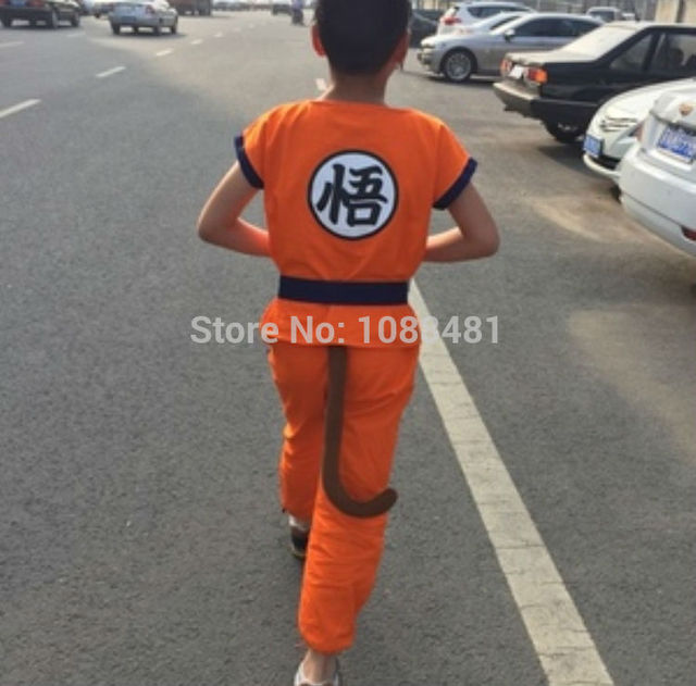 Dragon Ball Z Clothes Suit Son Goku Cosplay Costumes Top/Pant/Belt/Tail/wrister/Wig For Adult Kids 6 SIZE Childrens Day Gift