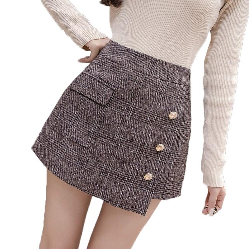 Autumn Irregular Plaid Short Pants Women New High Waist A Line Pacthwork Elegant Office Plaid Mini Skirts Shorts Harajuku Shorts
