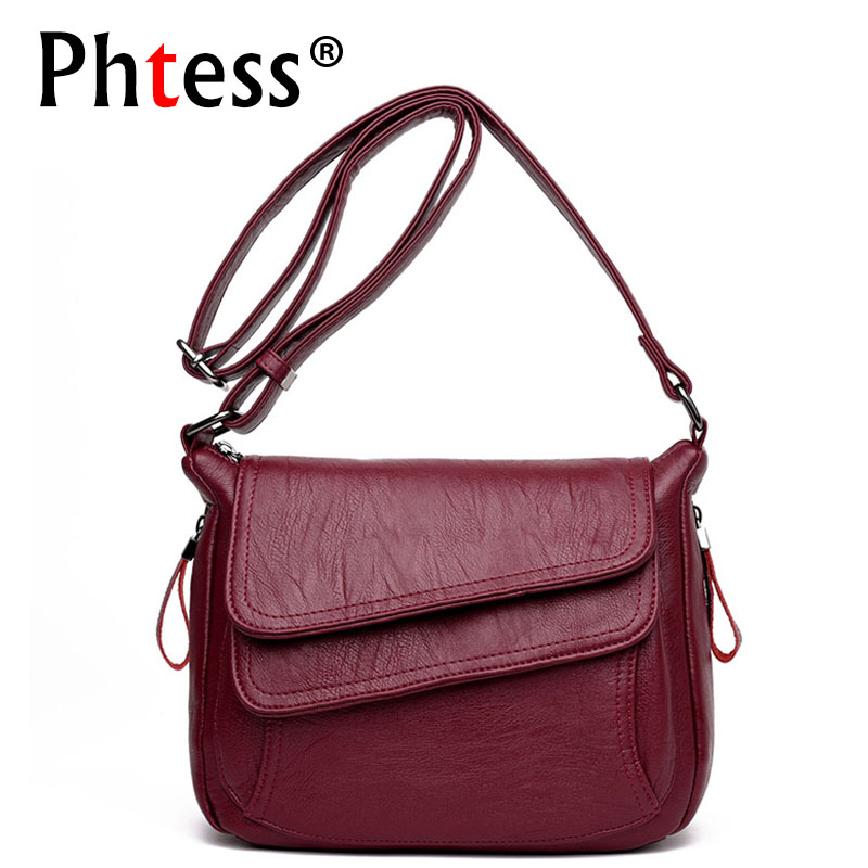 2018 New Luxury Leather Handbags Women Bags Designer Brand Female Crossbody Shoulder Bags For Women Vintage Handbags Sac a Main new 2017 fashion women pu leather shoulder bags ladies patent crossbody bag brand luxury handbags women bags designer sac a main