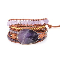 Dropshipping Wrap Bracelets Natural Stones Crystal Natural Charm 5 Times Friendship Bracelet Boho Bracelet Homme