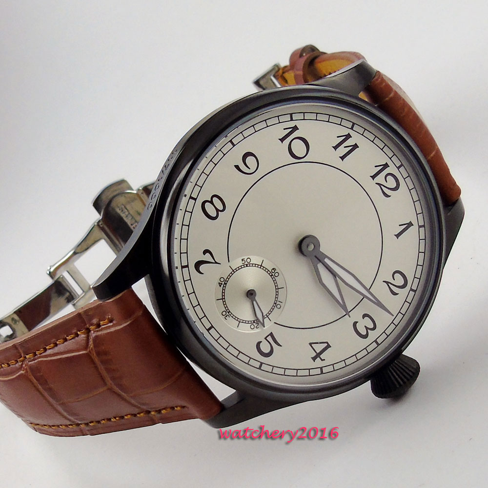 44mm parnis White Dial Black pvd Brown Leather Deployment Stainless Steel Case 6498 Movement Hand Wind Mechanical Men's Watch relojes full stainless steel men s sprot watch black and white face vx42 movement