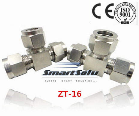 Free shipping Tee Union Stainless Steel Connector Fitting, ZT-16 Thread, Homebrew Fitting,Straight terminal fittings free shipping 30pcs peg 10mm 8mm pneumatic unequal union tee quick fitting connector reducing coupler peg10 8