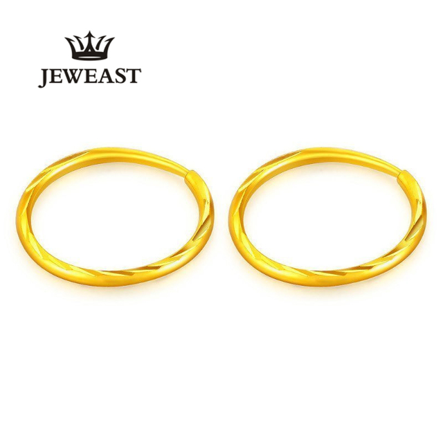 24k Pure Gold Hoop Earrings Unique Shape Clic Wild Generous Support Customization Earring A Pair Fine