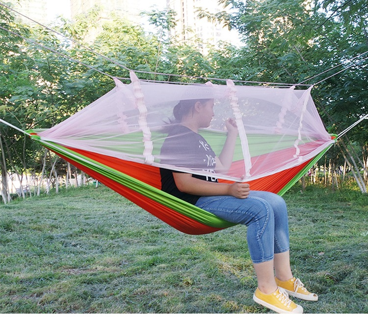 Camping Hunting Mosquito Net Parachute Hammock 2 Person Flyknit Hamaca Garden Hamak Hanging Bed Leisure Hamac With mosquito net outdoor double hammock portable parachute cloth 2 person hamaca hamak rede garden hanging chair sleeping travel swing hamac