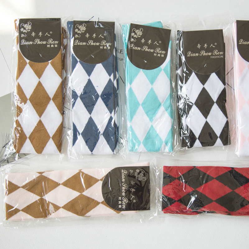 Cute Lolita Girl Diamond Check Over Knee Stocking Thigh High Socks Kawaii Academy School Students Cosplay Thigh High Stockings in Costume Accessories from Novelty Special Use