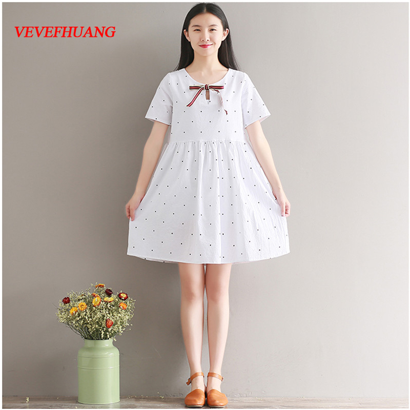 Preppy Style Summer Women Cute Mini Dress Polka Dot Cotton Bow Vestido De Renda Short Sleeve Navy Blue White Girl's Dress