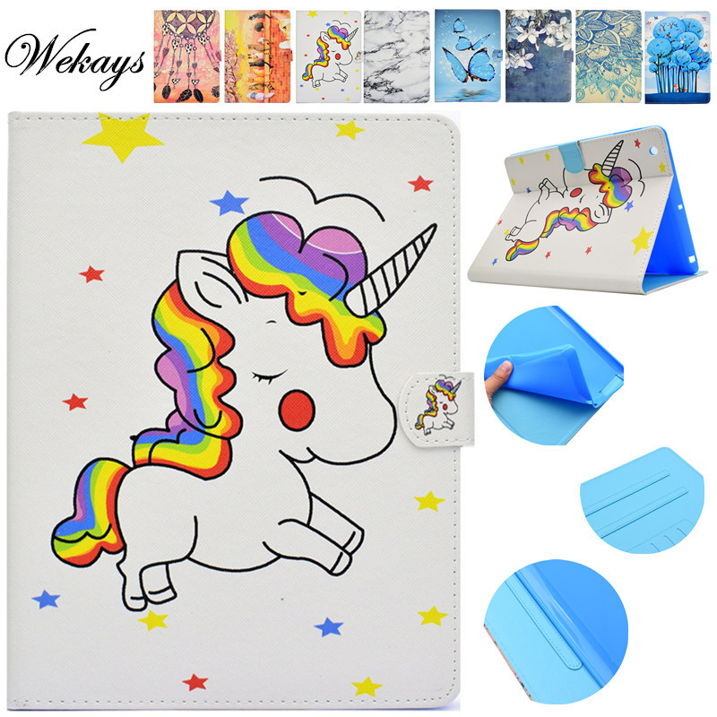 Wekays For Coque Apple IPad 4 3 2 Cartoon Unicorn Leather Flip Stand Case For IPad2 IPad3 IPad4 Tablet Cover Case For IPad 2 3 4 new for apple ipad 2 3 4 ipad2 ipad3 case table smart cover slim magnetic pu leather stand cases