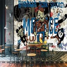 Custom mural 3D stereo trend street graffiti bar KTV background wall covering thick wallpaper mural custom photo wall mural 3d stereoscopic wallpaper for living room ktv bar space capsule background decor wallpaper 3d wall mural
