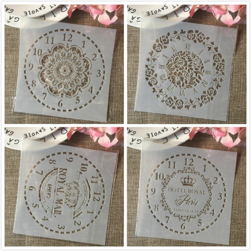 4Pcs 6*6inch Clock Rome Digit Dial DIY Layering Stencils Painting Scrapbook Coloring Embossing Album Decorative Card Template