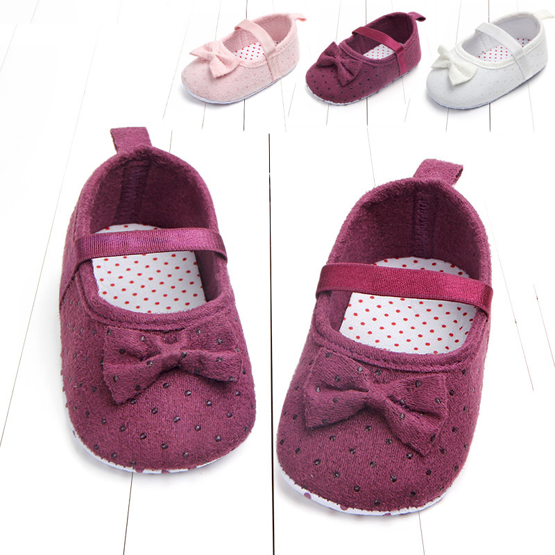 Spring New Pattern Woman Baby Solid Color Study Walking Shoes 0 6 12 Individual Month Baby Non Slip Shoe Bow 0920