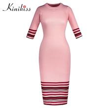 Kinikiss Для женщин Полосатый Розовый Платья-свитеры осень 2017 г. красочные Половина рукава плотно вязаное платье Элегантный О-образным вырезом Платья-свитеры