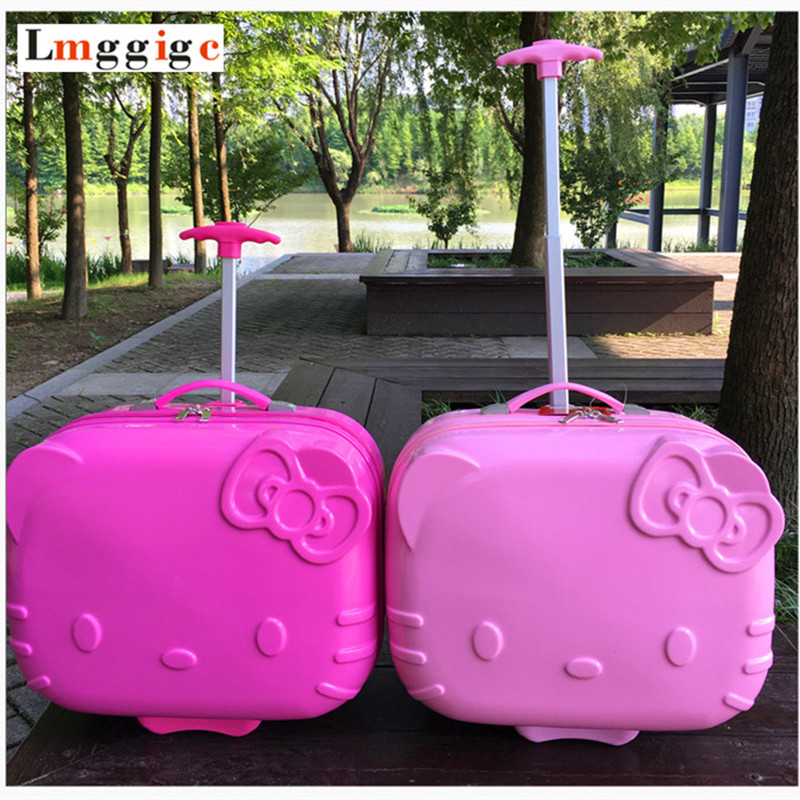 Kids Hello Kitty Rolling Luggage bag,Children Travel Suitcase,Cartoon Box with Wheel,ABS Trolley Case lovely hello kitty luggage children trolley travel bag 18 inch cartoon kids suitcases hello kitty bag for girls