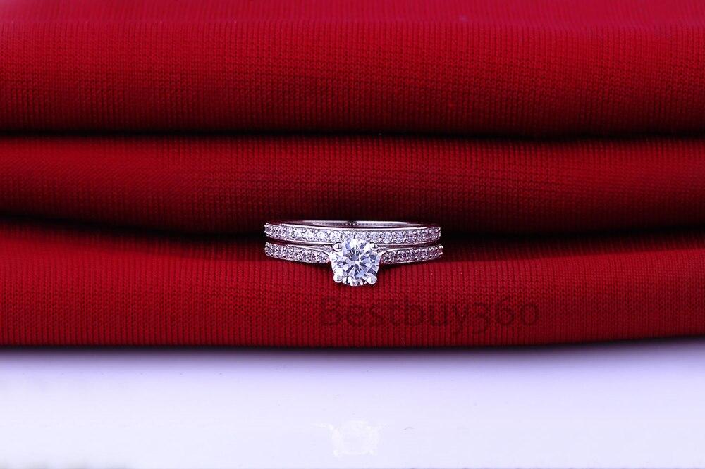 1 Carat 925 en argent Sterling S925 anneau bande ensembles NSCD Simulation Diamant amour bague de mariage ensemble pour les femmes (BB)