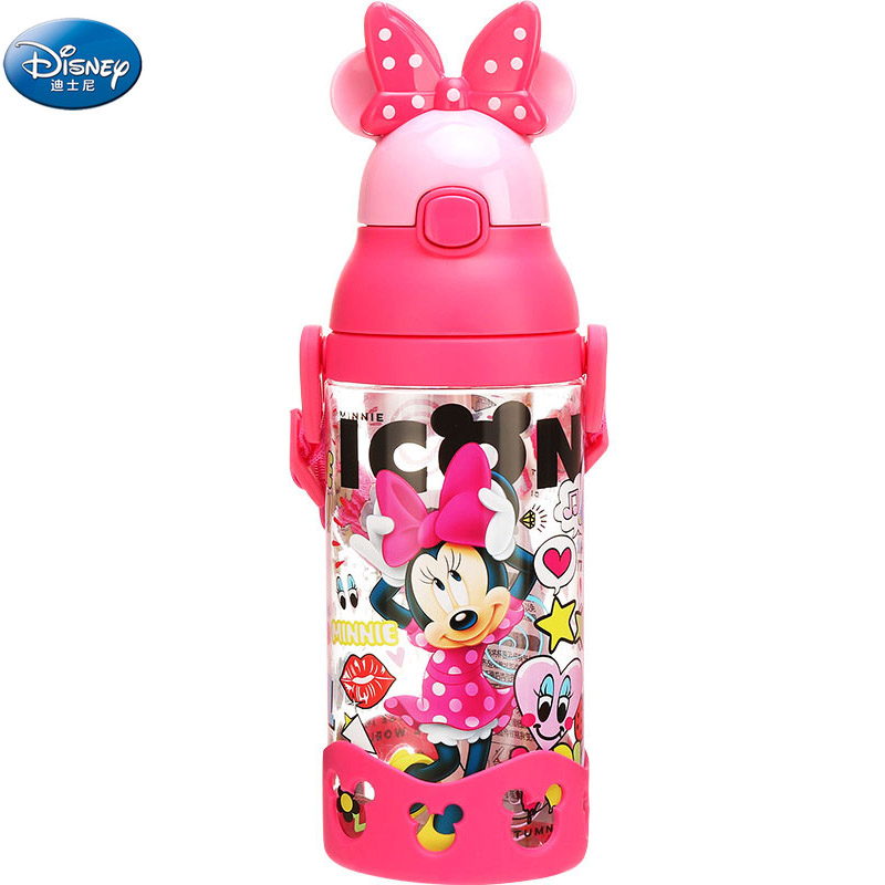 Disney Girls Mickey Minnie Mouse Cartoon Cups With Gravity Ball Straw Kids Boys Cars Princess Sophia Feeding Sport Bottles