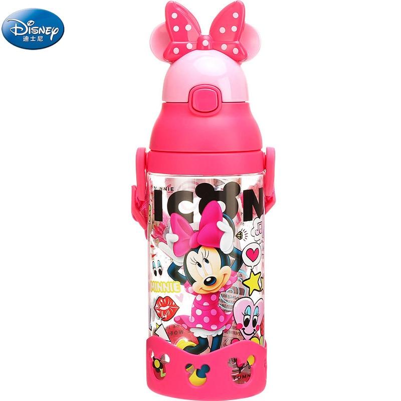 Disney Girls Mickey Minnie Mouse Cartoon Cups With Gravity Ball Straw Kids Boys Cars Princess Sophia Feeding Sport Bottles