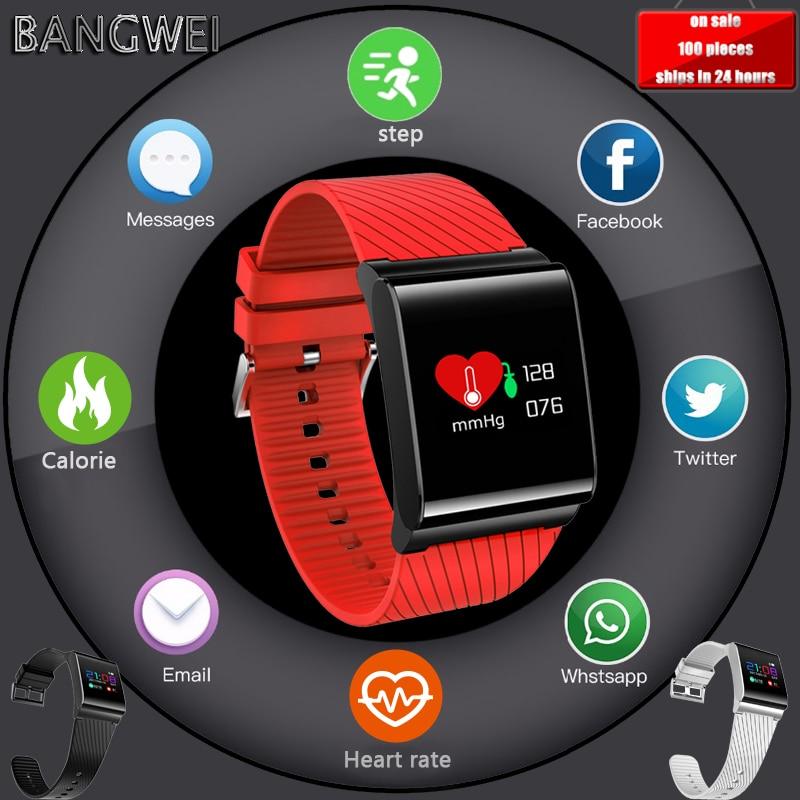 BANGWEI Montre Smart Watch pour La Pression Artérielle D'oxygène Coeur Taux De Détection Smartwatch avec Écran Couleur OLED hommes femme Sport Montre