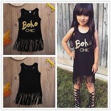 Toddler Kids Baby Girl Summer Clothes Sleeveless Letter Party Tassel Tops Shirt Dress
