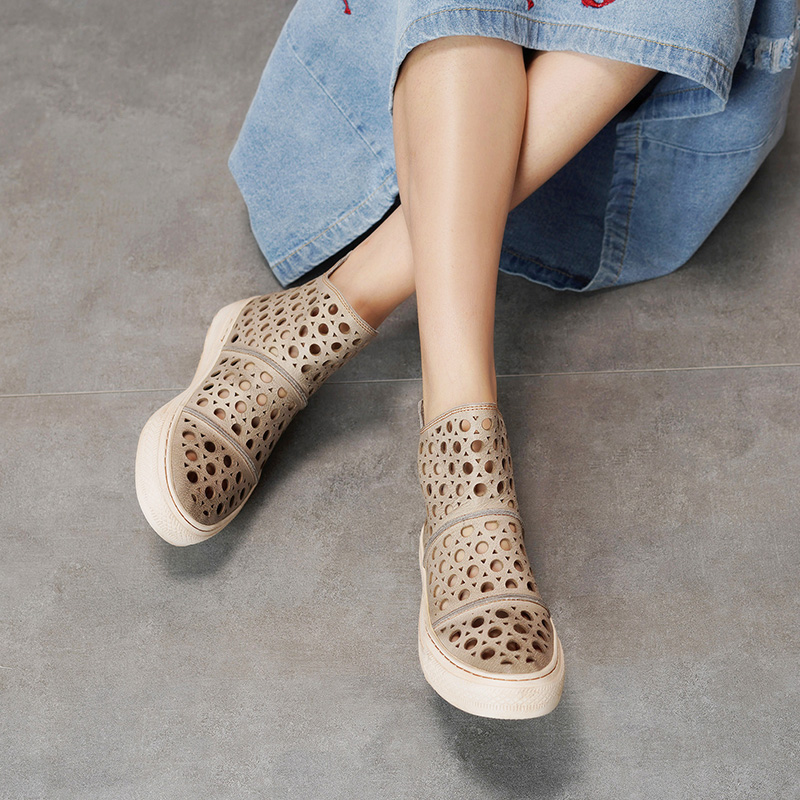 Leather Cool Booties For Women 2019 New Arrival Fashion Lady Ankle Boots Cut Out Flat Platform
