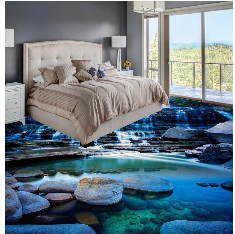 ФОТО 3D  wallpaper floor waterfall Photo wallpaper mural floor Custom Photo self-adhesive 3D floor Home Decoration