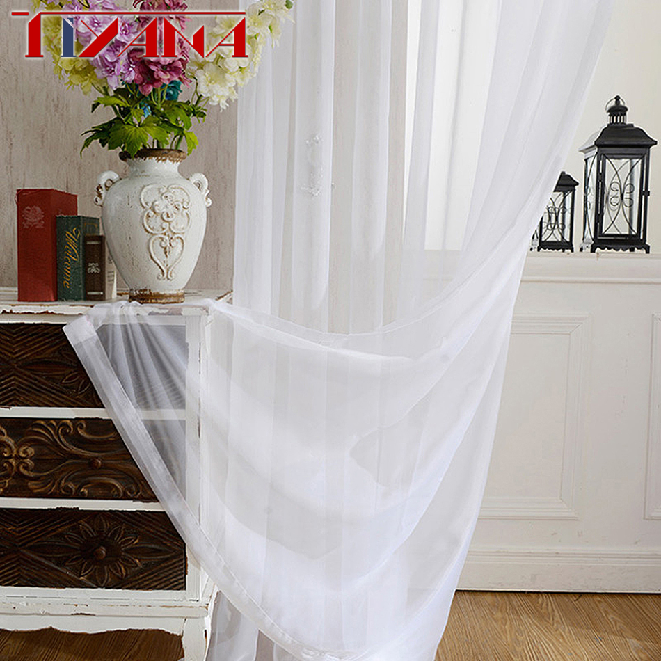 Wedding Ceiling Drapes Solid White Sheer Curtains For Living Room Polyester Voile Curtain Tulle For Balcony Bedroom WP184&2