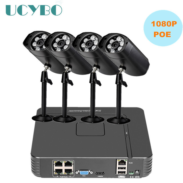 4ch 1080P PoE 48v Home Security IP Camera NVR System HD outdoor 2mp POE IP Camera NVR kits P2P cloud CCTV Video Surveillance Kit