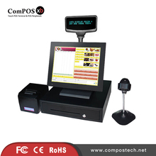 A completely set of good quality 15 inch all in one pos system with accessories for fast-food restaurant