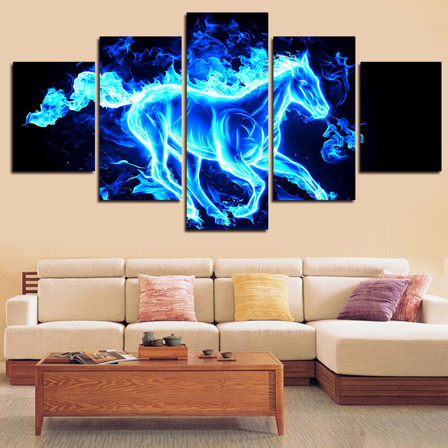 online get cheap horses wall art aliexpress com alibaba group 5 panels home decor painting wall decoration painting on canvas irregular animal horse wall art picture