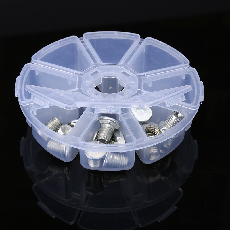 Mini Round Tool Box Transparent Plastic Toolbox Electronic Components Storage Box