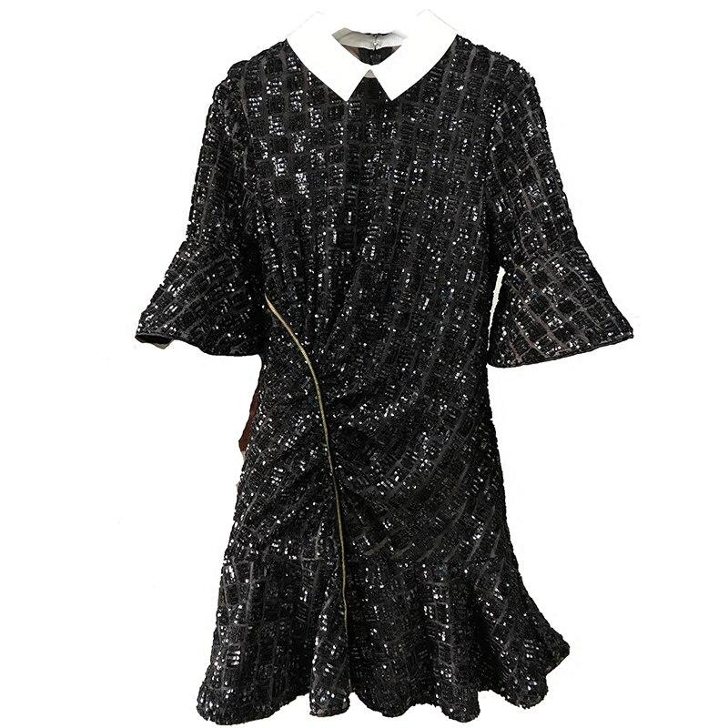 Haute qualité printemps nouveau Polo cou cloche 1/2 manches noir une ligne robes paillettes broderie taille haute montrer mince femme Mini robe