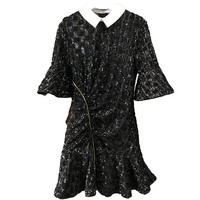 High Quality Spring New Polo Neck Bell 1/2 Sleeve Black A Line Dresses Sequins Embroidery High Waist Show Thin woman Mini Dress