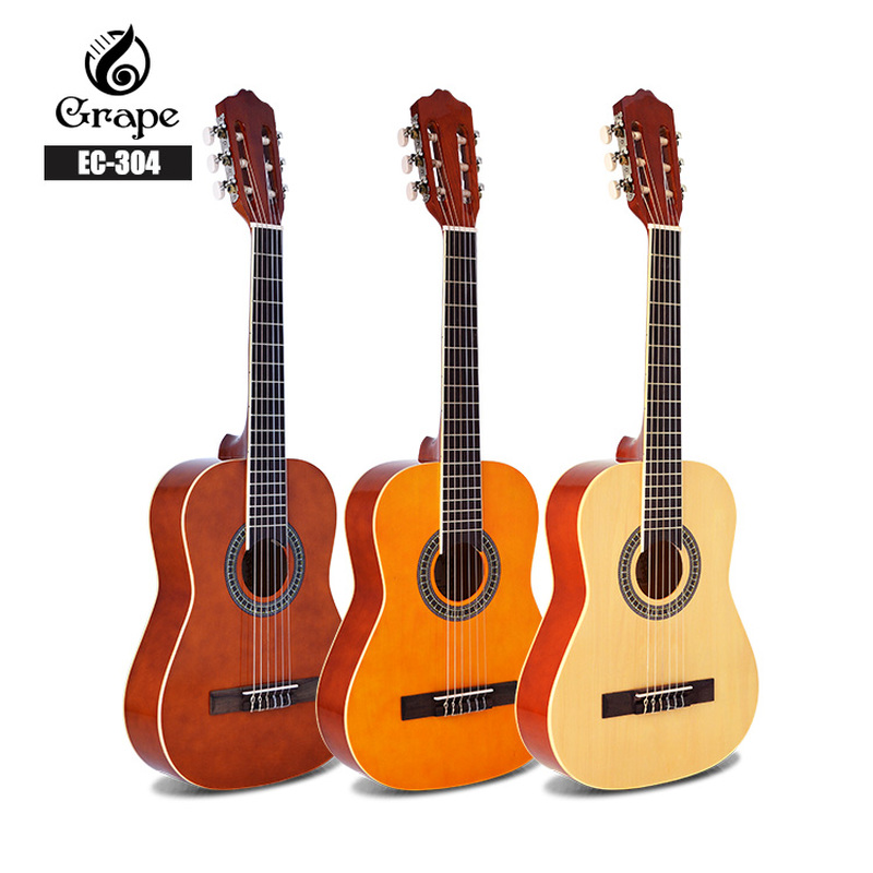 Basswood Classical <font><b>Guitar</b></font> Acoustic Electric Nylon String <font><b>36</b></font> Inch Mini-body Guitarra 6 Strings Install Pickup <font><b>Guitars</b></font> Wood Color image